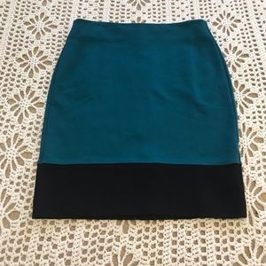 Talbots Color Block Green and Black Pencil Skirt